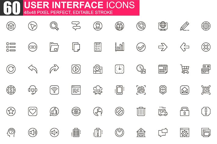 Thumbnail for User Interface Thin Line Icons Pack