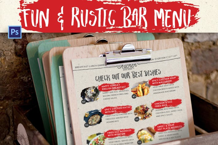 Thumbnail for Fun & Rustic Bar Menu