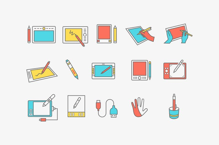 Thumbnail for 15 Graphics Tablet Icons
