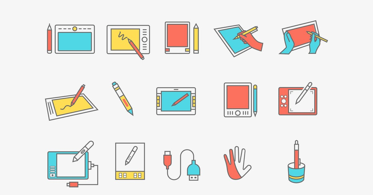 15 Graphics Tablet Icons by creativevip
