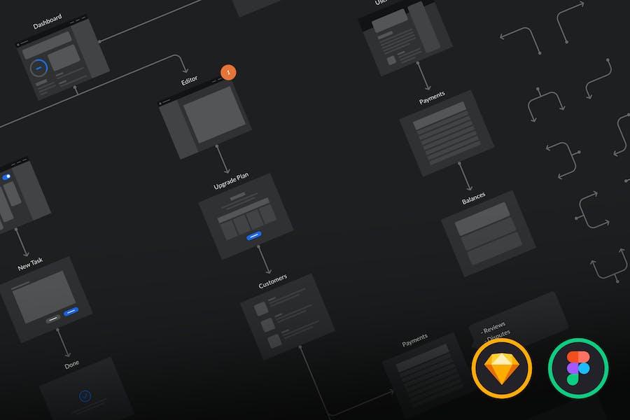 Dark UI Wireflows