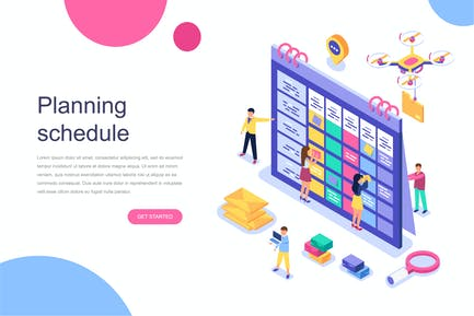 Planning Schedule Isometric Concept