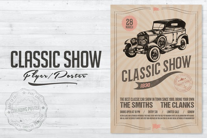 Cover Image For Classic Car Show Flyer Poster
