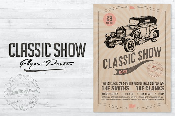 Thumbnail for Classic Car Show Flyer Poster