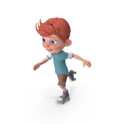 Cartoon Junge Charlie Skating
