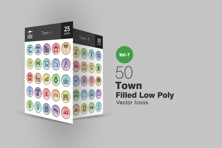 Thumbnail for 50 Town Filled Low Poly Icons