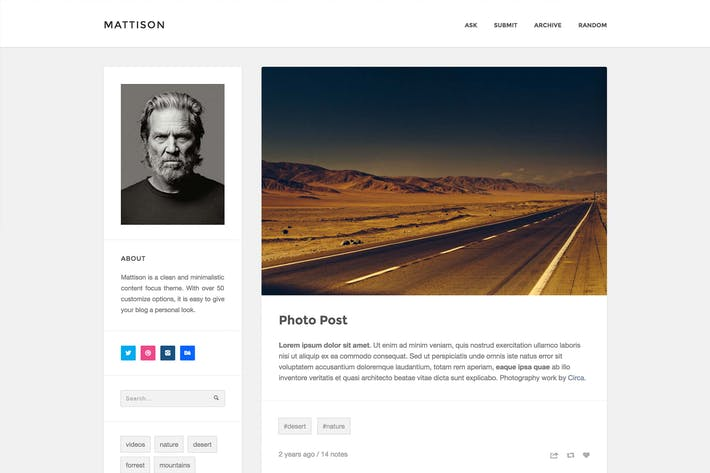 Thumbnail for Mattison - Content Focus Tumblr Theme
