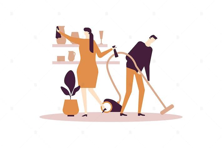 Thumbnail for Household chores - flat design style illustration