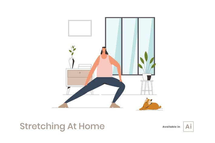 Thumbnail for Dehnen zu Hause Illustration