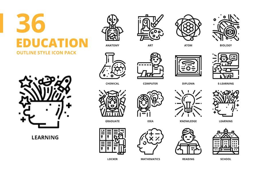 Bildung Gliederung Stil Icon Set