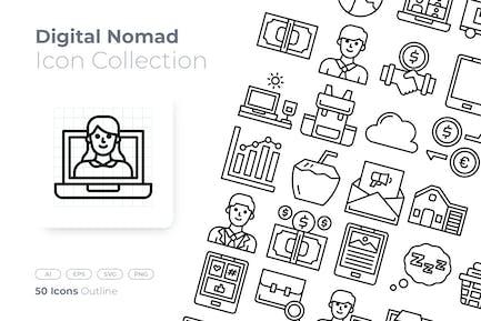 Digital Nomad Outline Icon