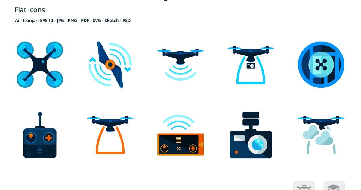 Download Drones and Virtual Reality Flat Colored Icons by roundicons