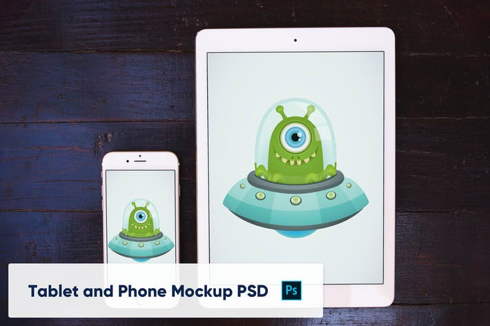 Thumbnail for Teléfono y tableta sobre fondo de madera - Mockup PSD
