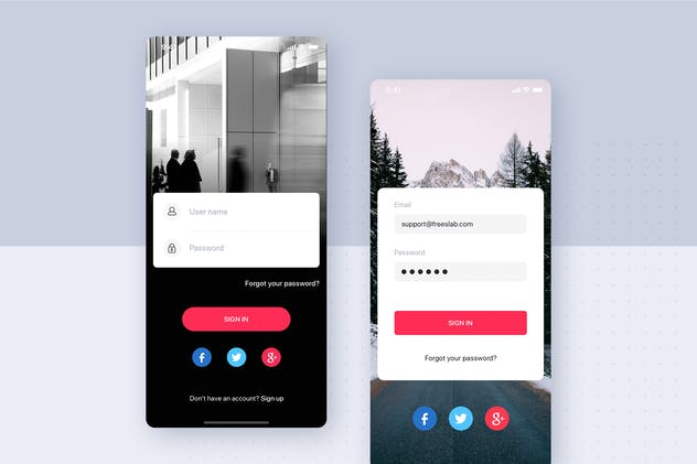 Sign Up/Login mobile UI template for Sketch