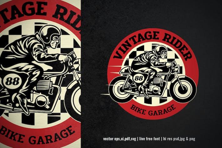 vintage badge logo of motorcycle garage