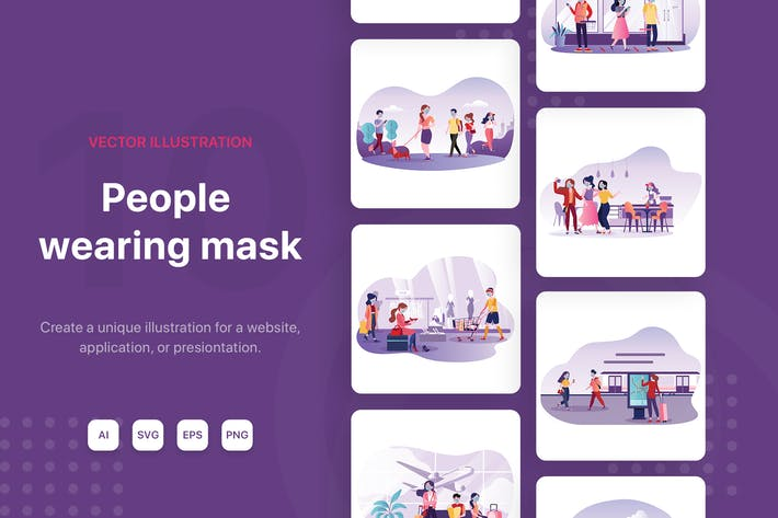 Thumbnail for People wearing mask Illustrations