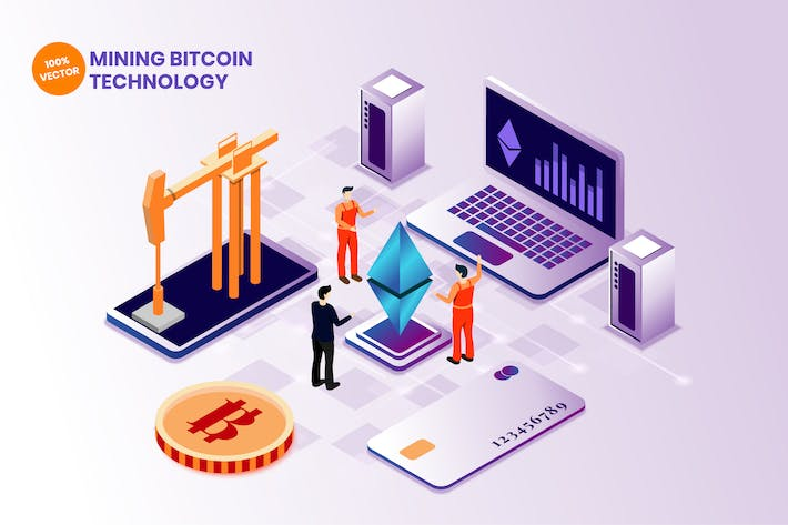 Thumbnail for Isometric Bitcoin Mining Vector Illustration