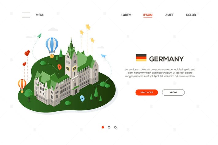 Thumbnail for Visit Germany - colorful isometric web banner