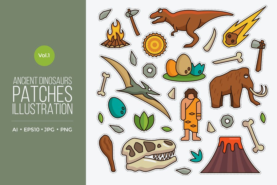 Jurassic Dinosaurs Patches Vector Vol.1