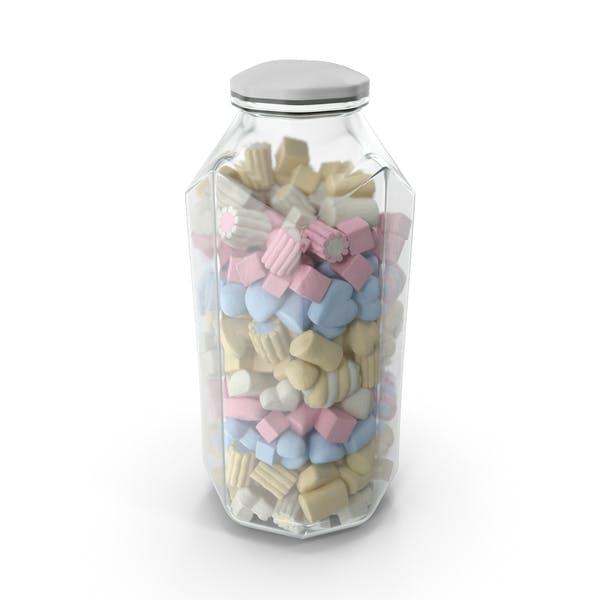 Octagon Jar with Mixed Marshmallows