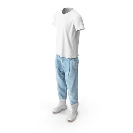 Herren Jeansstiefel T-shirt Weiß und Blau