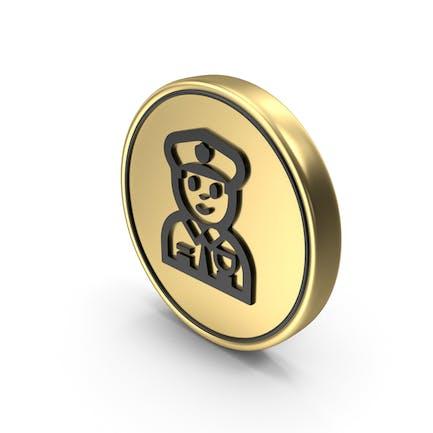 Police Officer Coin Logo Icon