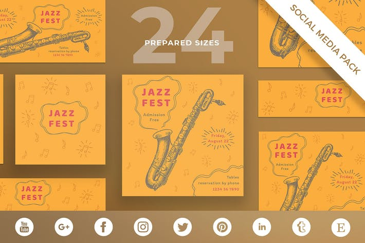 Jazz Festival Social Media Pack Template