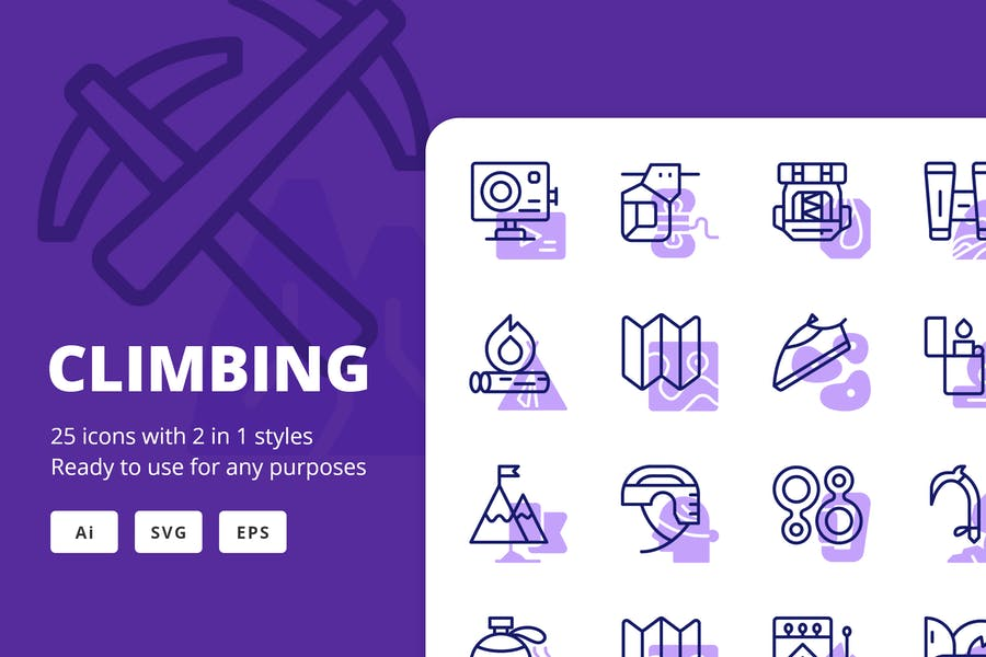 Climbing Icons (Line and Solid)