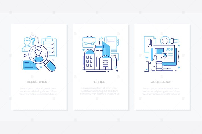 Thumbnail for Human resources - line design style banners set