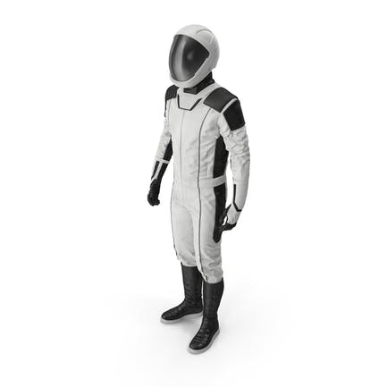 Футуристический космонавт Космический костюм Стоящая поза