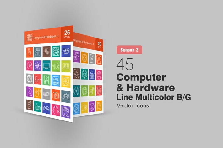 Thumbnail for 45 Computer & Hardware Line Multicolor B/G Icons