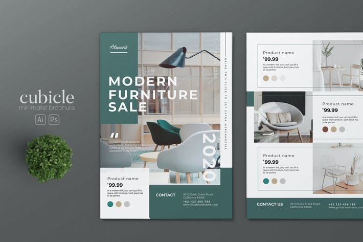 Thumbnail for Minimalist Interior Design AI and PSD Flyer