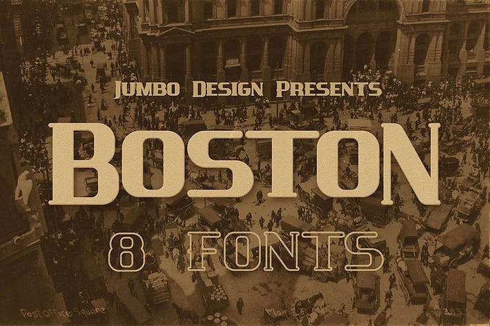 Cover Image For Boston - Vintage Style Font