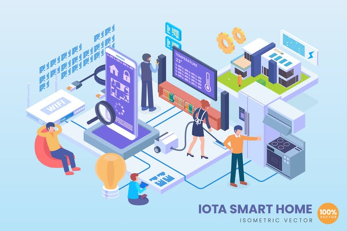 Thumbnail for Isometric Internet Of Things Smart Home Vector