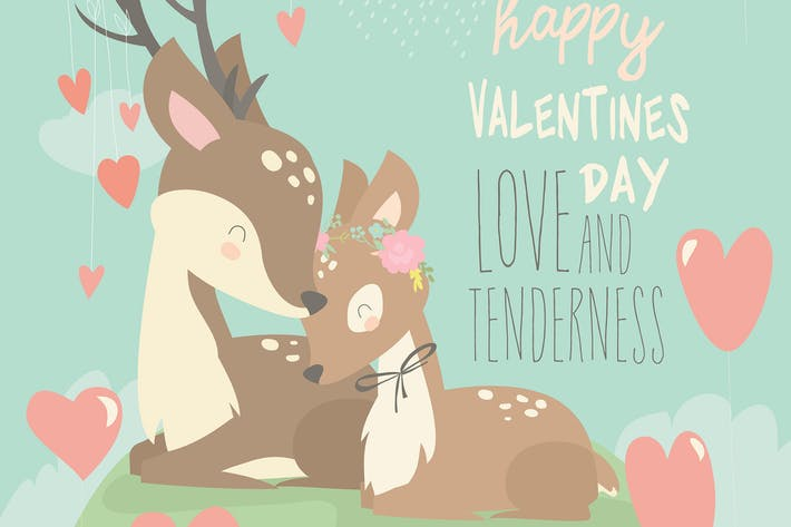 Cartoon deer couple with hearts balloons. Happy