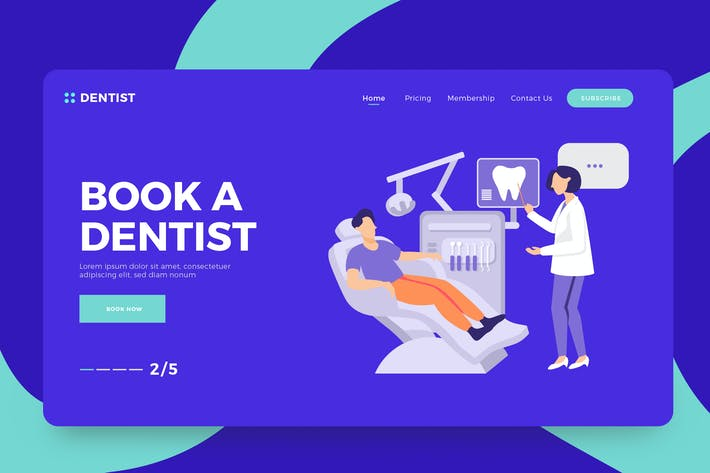 Thumbnail for Dentist Vector Illustration Landing Page