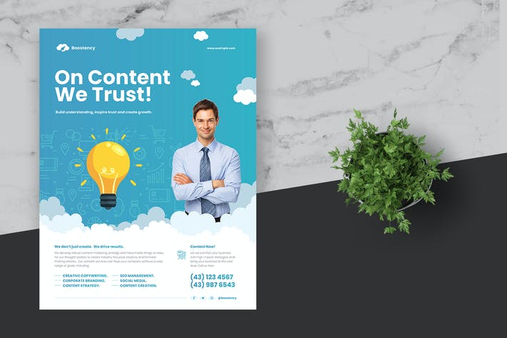 Thumbnail for Clean Content Marketing Flyer Poster Template