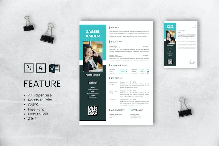 Thumbnail for Professional CV And Resume Template Jassie Amber