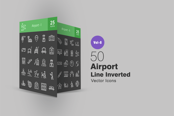 Thumbnail for 50 Airport Line Inverted Icons