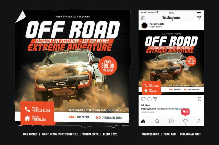 Thumbnail for Off-Road Adventure Square Flyer & Instagram Post