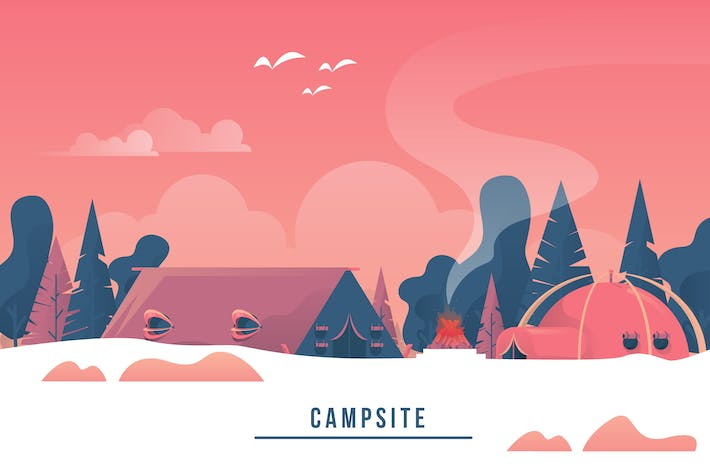 Thumbnail for Campsite - Vector Landscapae & Building