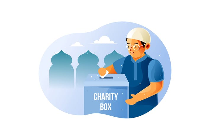 Thumbnail for Young Muslim give alms in the charity box