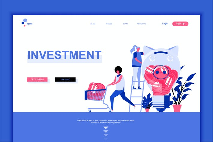 Thumbnail for Business Investment Flat Landing Page Template
