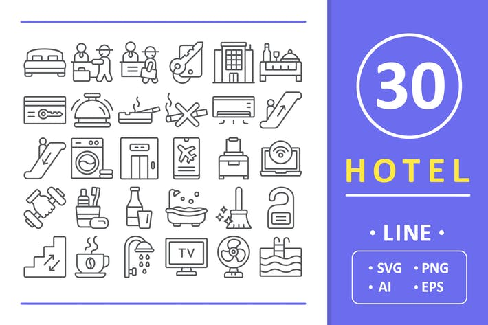 Thumbnail for 30 Hotel Icons - Line