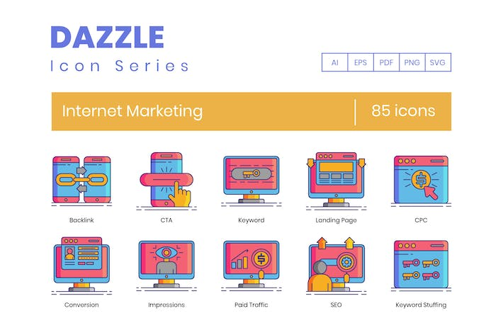 Thumbnail for 85 Internet Marketing Icons - Dazzle Series