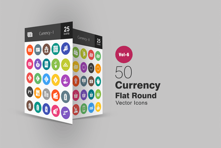 50 Currency Glyph Multicolor BG Icons