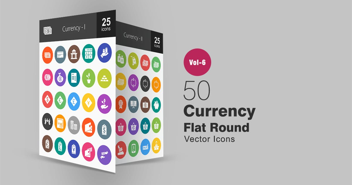 Download 50 Currency Glyph Multicolor BG Icons by Unknow