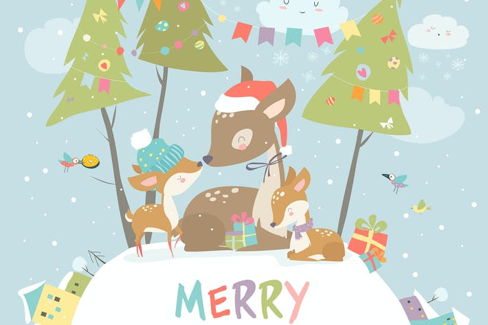 Cover Image For Cute Cartoon Deer family. Merry Christmas. Vector
