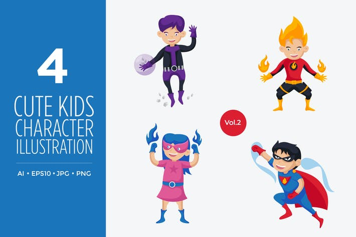 Cover Image For Cute Kids Superhero Vector Character Set 2