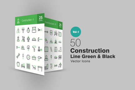 50 Construction Line Grün & Schwarz Icons